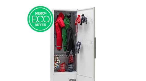 De kan placeras var som helst, släpper inte ut värme, är tystgående och stängs av när kläderna är torra. Därför valde Gävle Nimos torkskåp.